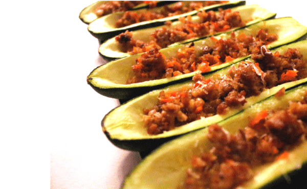 Low Carb Sausage Stuffed Zucchini Boat Recipe