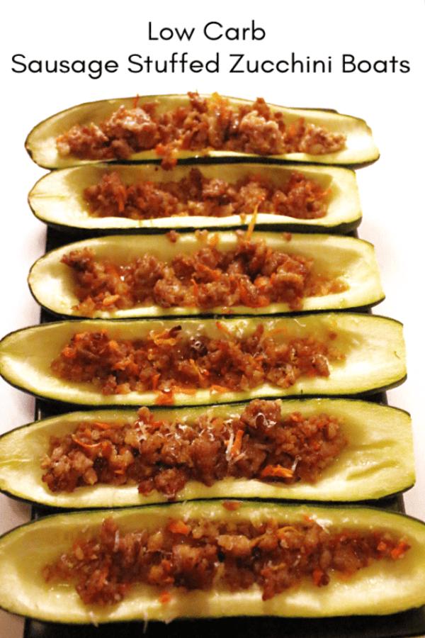 Sausage Stuffed Zucchini Boat Recipe Keto Friendly