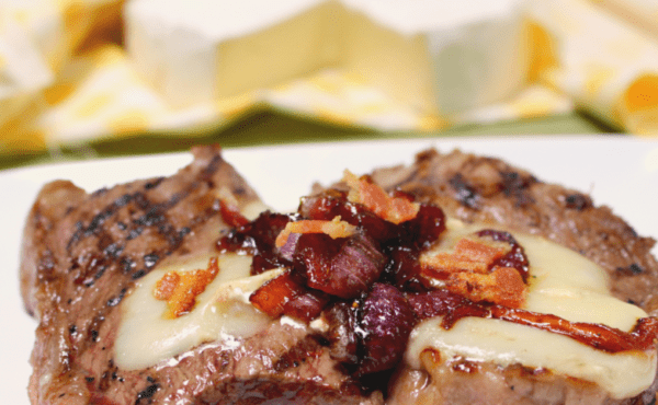 Sirloin Steak with Balsamic Onions and Brie