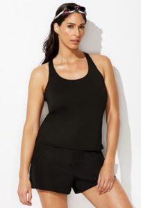 Black Cargo Short Tankini Modest Swimwear