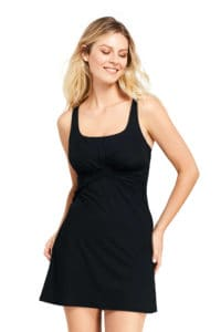Black One Piece Modest Bathing Suit Lands End