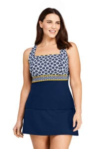 Yellow and Navy Tankini Modest Bathing Suit