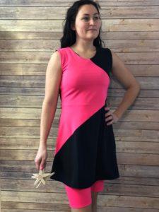 Bold Pink and Black Swim Dress