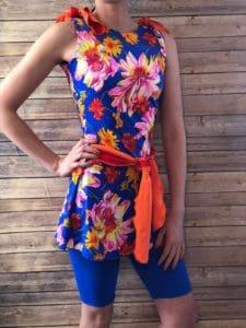 Bright Orange and Blue Swim Dress