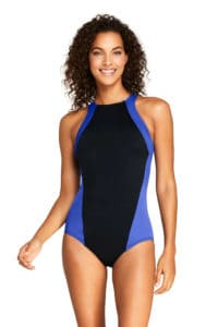 Purple and Black Bathing Suit with High Neck