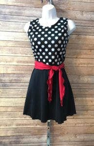 Modest Swim Dress Red and Black Polka Dot