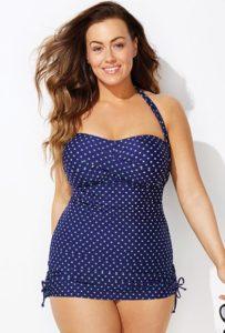 Navy and Mint Polka Dot Sheath Swim Suit Modest Swimwear