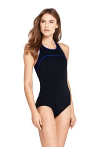 Black Swimsuit with Blue Piping Modest Swimwear