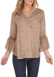 Belk New Directions 3/4 Sleeve Crochet Yoke Top