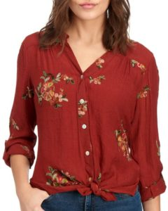 Fall Tie Hem Button Down Shirt