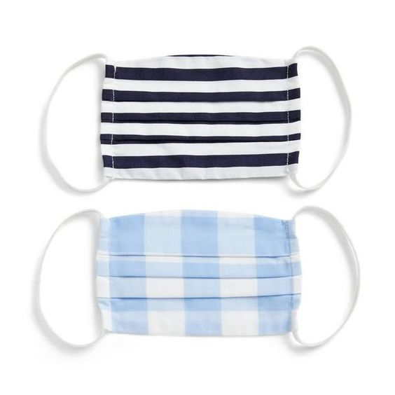 Black Stripe and Blue Gingham Face Mask for Kids