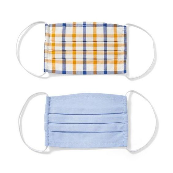 Cornflower Blue and Grey Yellow Check Face Masks for Kids