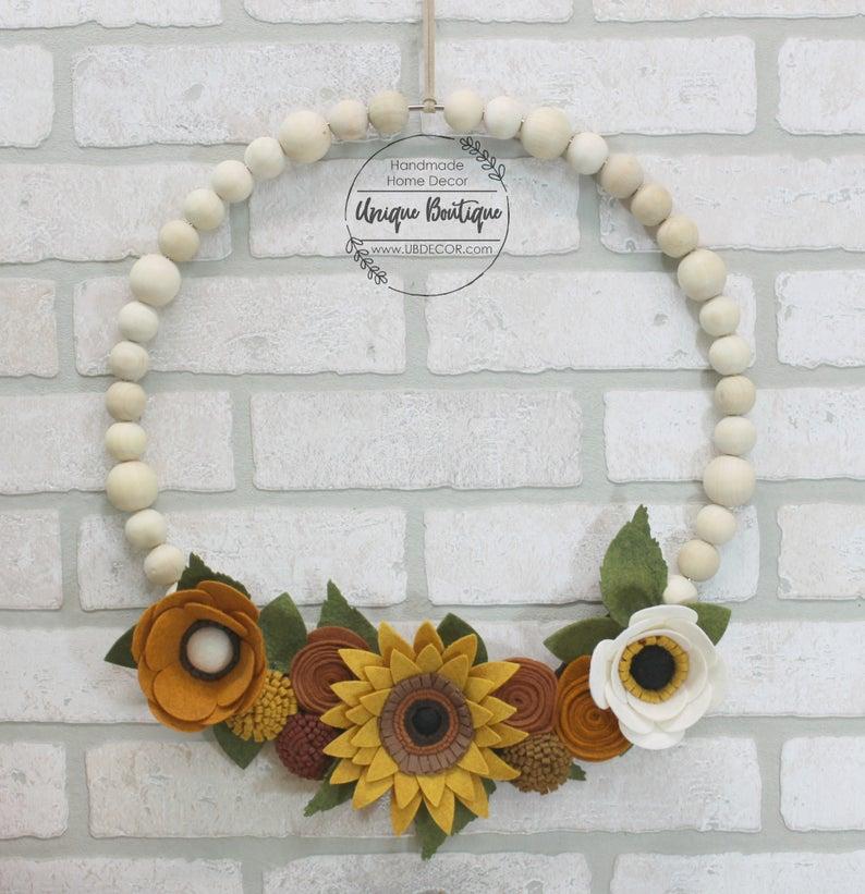 Felt Flower and Wooden Bead Fall Wreath