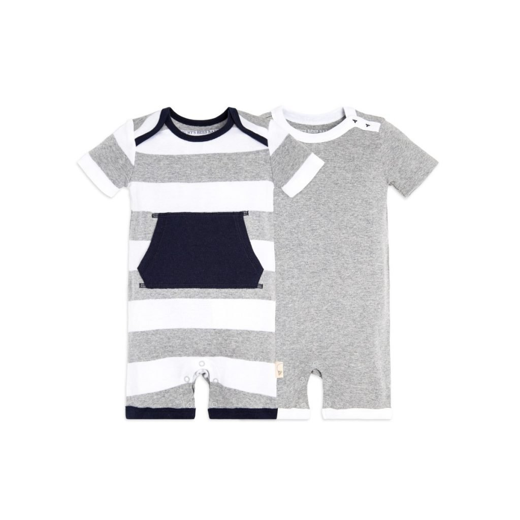 Front Pocket Organic Cotton Baby Rompers for Summer