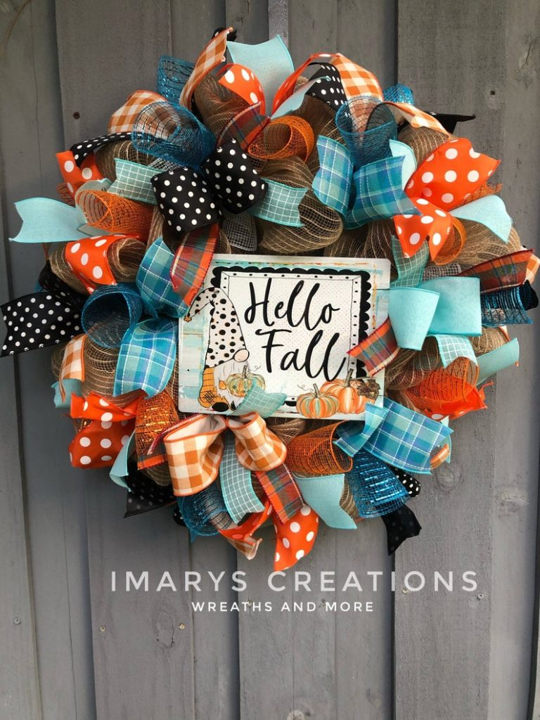 Gnome Themed Fall Wreath with Bright Orange and Blue Ribbons