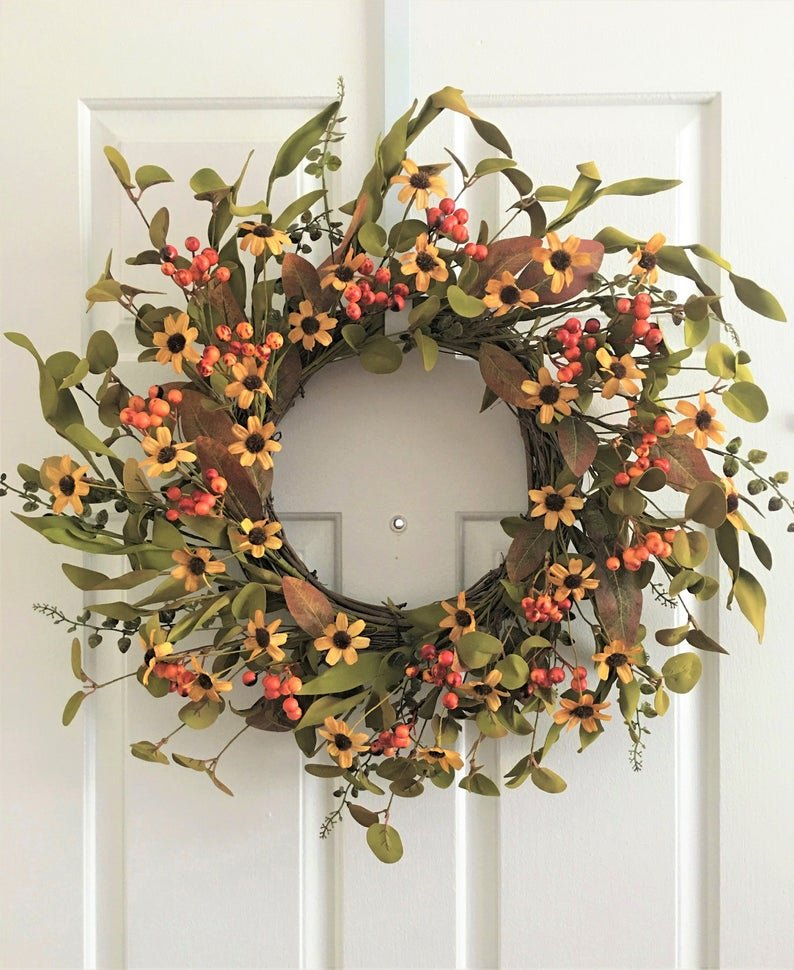 Handmade Fall Wreaths with Flowers Berries and Leaves