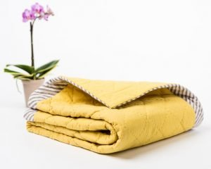 Hand Dyed Organic Muslin Baby Blanket in Yellow