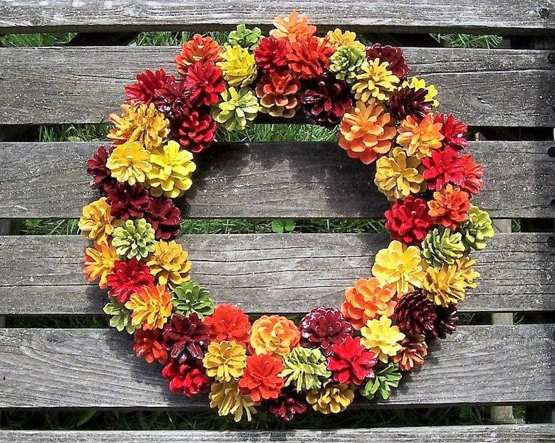 Handmade Painted Pinecone Wreath