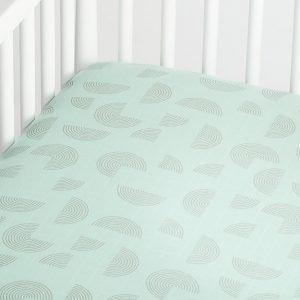 Mint Muslin Fitted Crib Sheet