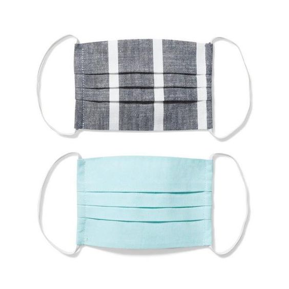 Mint and Heathered Oxford Stripe Face Masks for Kids