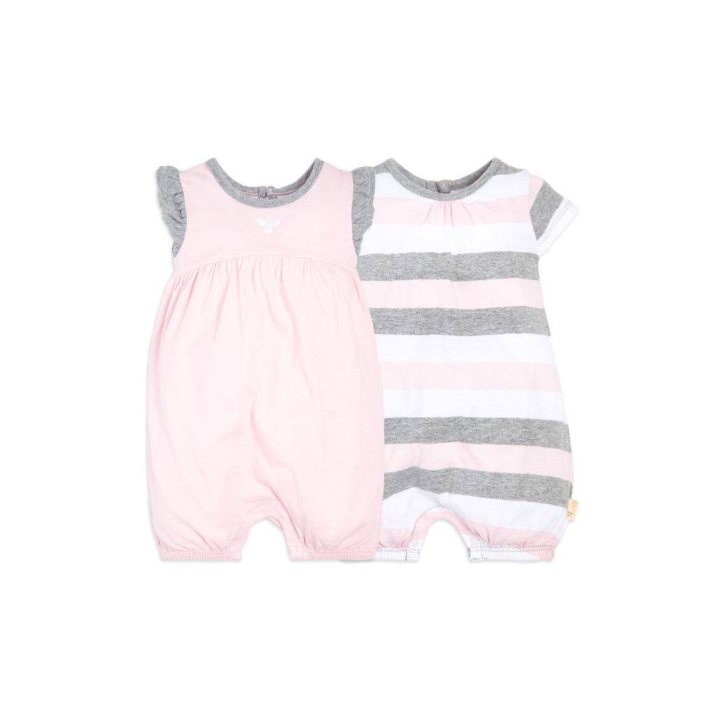 Multistripe Pink and Grey Organic Cotton Baby Rompers