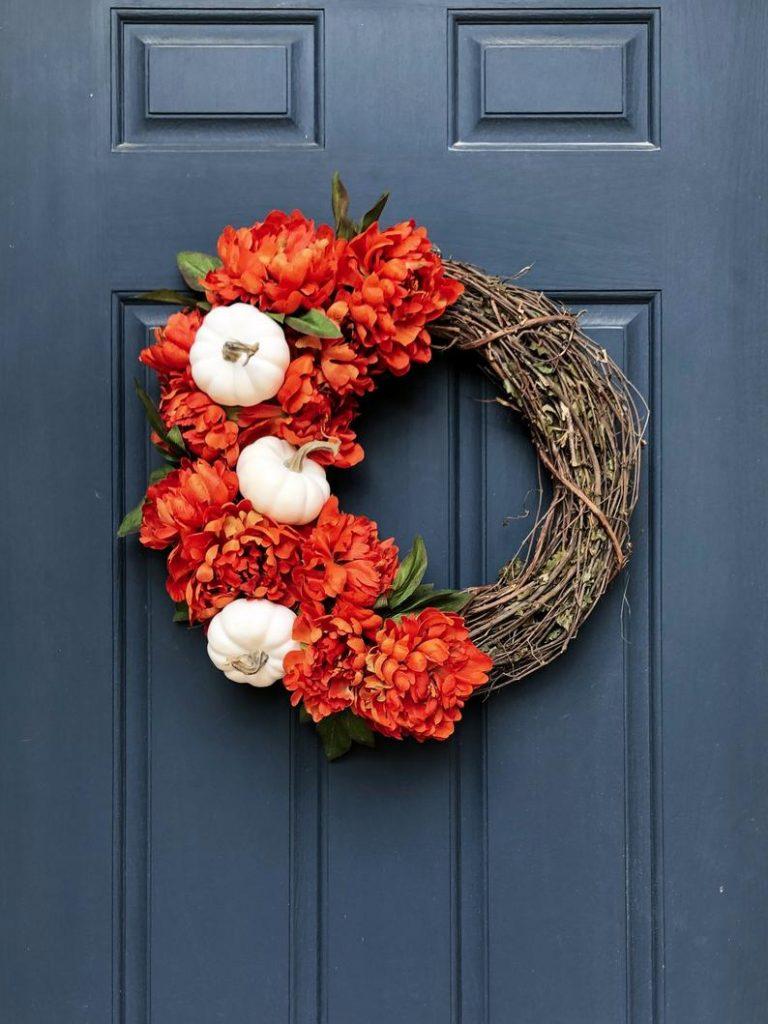 Orange Peony and White Pumpkin Fall Wreath