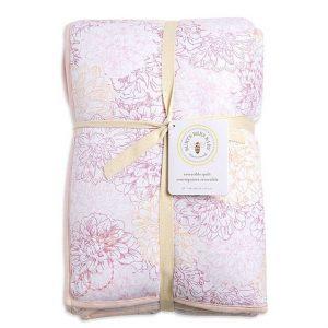 Plush Peach Floral Baby Blanket