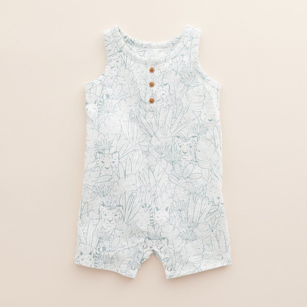 Henley Baby Romper in Organic Cotton
