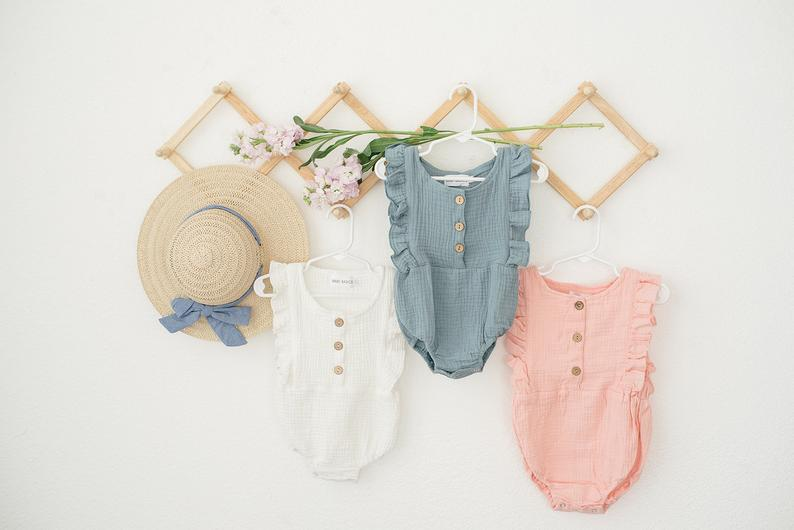 Organic Cotton Summer Rompers for Babies Etsy Babe Basics