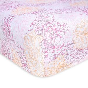 Peach Floral Fitted Crib Sheet