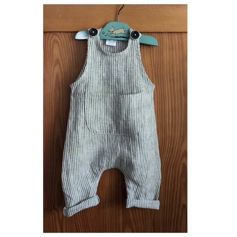 Handmade Organic Linen Baby Romper