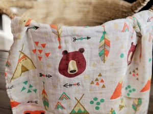 Baby Swaddle Blanket with Camping Themed Design