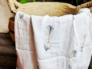 Baby Swaddle with Feather Design