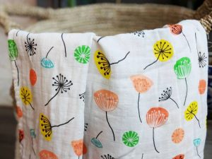 Bamboo and Organic Cotton Swaddle Blanket in a Colorful Flower Design