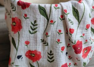Baby Swaddle Blanket with Red Poppy Design