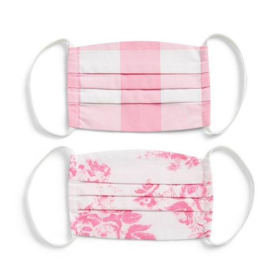 Pink Gingham and Floral Face Masks for Kids