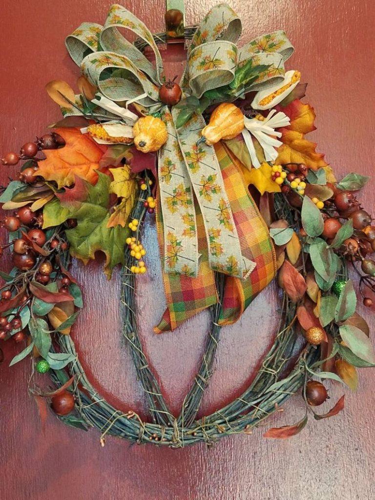 Pumpkin Shaped Grapevine Wreath