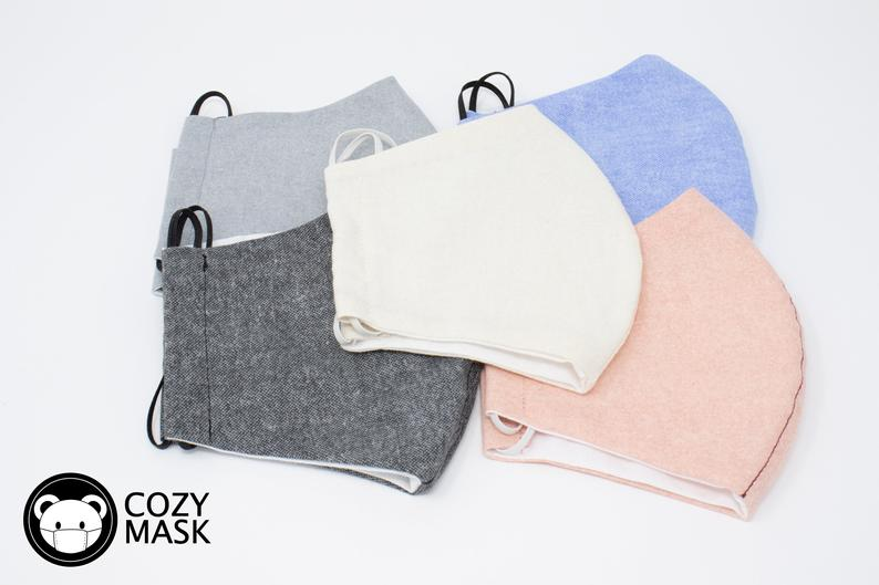 Washable Organic Cotton Face Mask in Neutral Colors