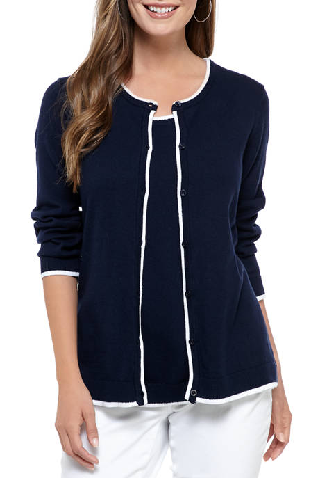 Belk Kim Rogers® Women's 34 Sleeve Core Cardigan with Tipping