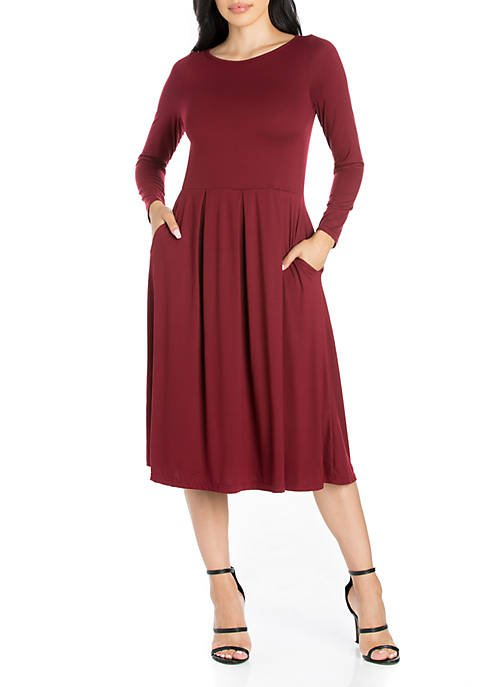 Belk Women's Long Sleeve Fit and Flare Midi Dress