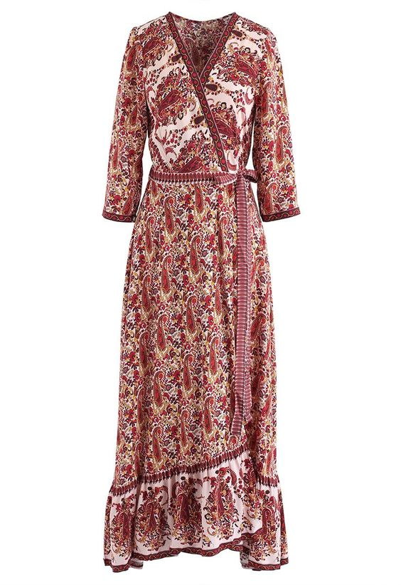 ChicWish Paisley World Boho Wrap Maxi Dress
