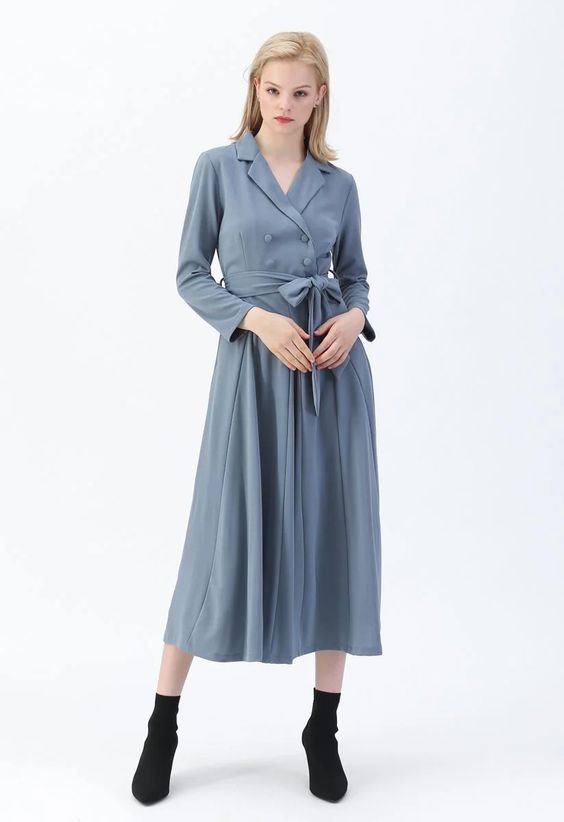 ChicWish Self-Tied Bowknot Double-Breasted Maxi Dress