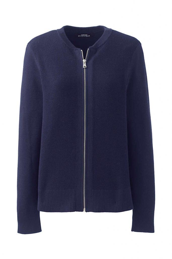 Land's End Women's Cotton Modal Zip Fall Cardigan Sweater Jacket